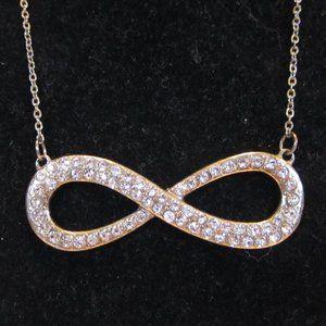 Jewelry - Antiqued Goldtone + Rhinestones Infinity Necklace
